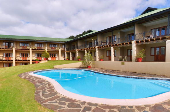 Sparkling swimming pool at Magoebaskloof Hotel.